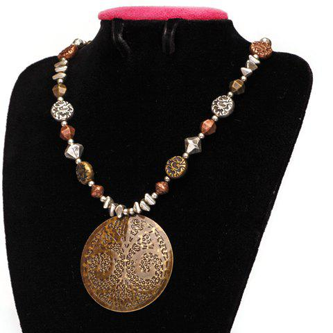 Chic Beads Embellished Round Shape Pendant Women's Necklace - AS THE PICTURE