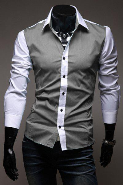 Fashion Color Block Splicing Shirt Collar Long Sleeve Slimming Men's Cotton Shirt - DEEP GRAY M