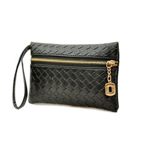 Fashion Weaving and Zip Design Day Clutch For Women - BLACK