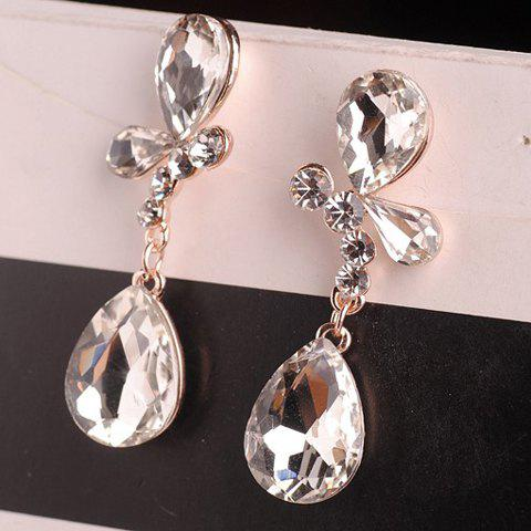 Pair of Elegant Crystal Embellished Butterfly Shape Earrings For Women - TRANSPARENT