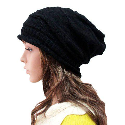 Trendy Knitted Striped Solid Color Hat For Women - COLOR ASSORTED