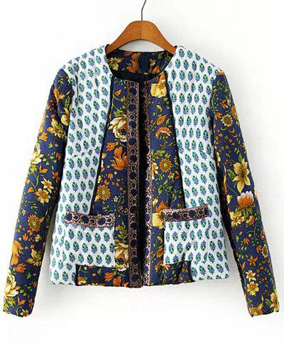 Retro Style Floral Print Jewel Neck Splicing Long Sleeve Coat For Women - COLORMIX S