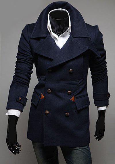 Fashion Double Breasted Turndown Collar Long Sleeve Slimming Men's Polyester Coat - CADETBLUE 170