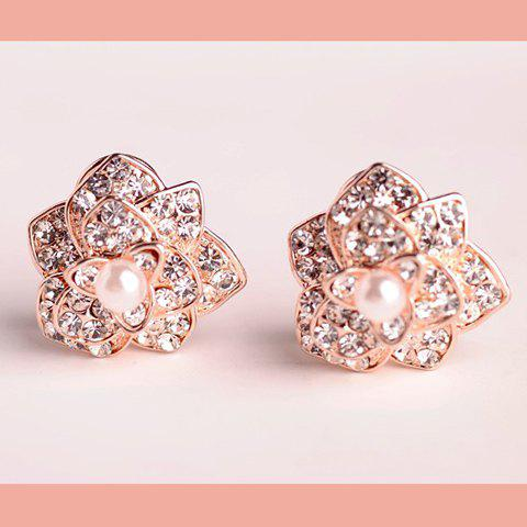 Pair of Elegant Faux Pearl and Rhinestone Embellished Stereoscopic Flower Earrings For Women