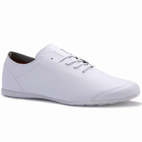 Concise Solid Color and PU Leather Design Casual Shoes For Men - WHITE 43