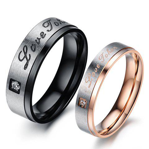 ONE PIECE Fashion Letter Carved Rhinestone Round Lover Couple Ring - MALE ONE SIZE