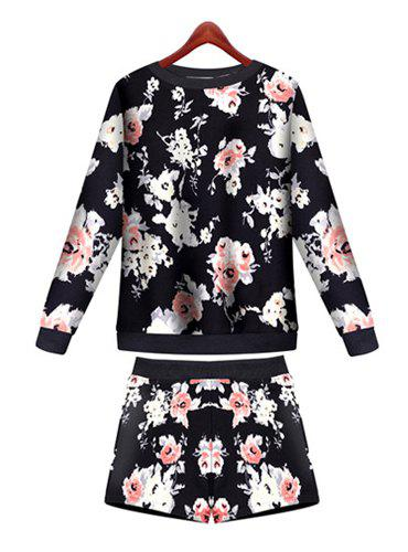 Full Floral Print Sweatshirt and Elastic Waist Drawstring Shorts Stylish Women's Suit - BLACK M