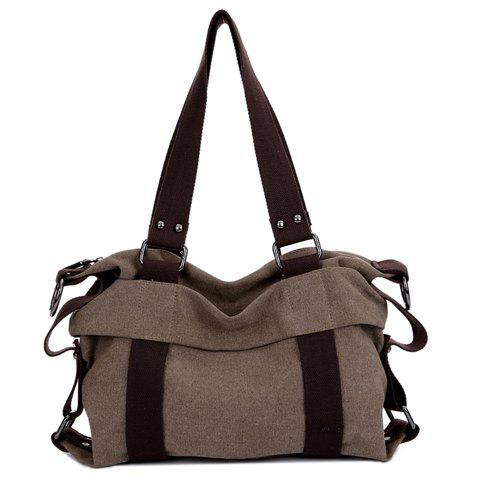 Slouch Canvas Shoulder Bag - DEEP BROWN