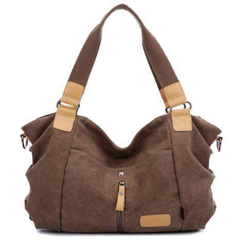 Casual Canvas and Zip Design Shoulder Bag For Women - BROWN