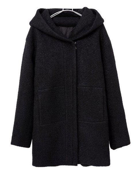 Solid Color Hooded Long Sleeve Zipper Design Worsted Simple Style Women's Coat