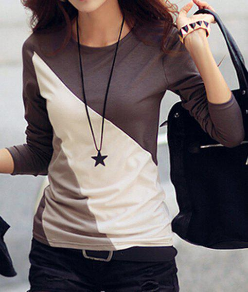 Casual Round Collar Long Sleeve Spliced Color Block Women's T-shirt - COFFEE M