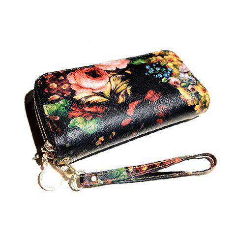 Fashion Zip and Floral Print Design Clutch Wallet For Women