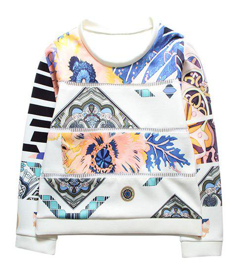 Stylish Floral Print Scoop Neck Splicing Long Sleeve Sweatshirt For Women - WHITE ONE SIZE