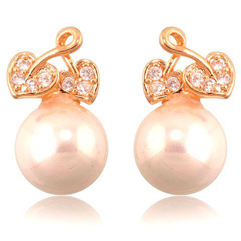 Pair of Chic Pearl and Rhinestone Embellished Earrings For Women - COLORMIX