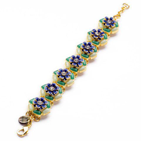 Faux Gemstone Embellished Daisy Bracelet - AS THE PICTURE