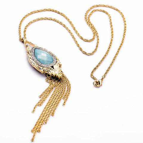 Elegant Gemstone and Tassel Embellished Pendant Sweater Chain Necklace -  COLORMIX