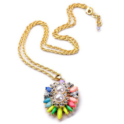 Cute Candy Color Gemstone Embellished Pendant Necklace For Women - AS THE PICTURE
