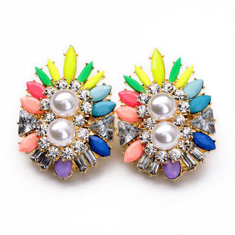 Pair of Cute Candy Color Gemstone Embellished Women's Earrings - COLORFUL