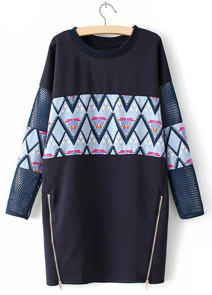 Active Totem Print Round Collar Splicing Zippers Embellished Long Sleeve Dress For Women - CADETBLUE ONE SIZE