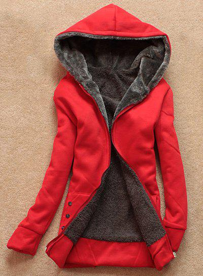 Stylish Women's Long Sleeves Solid Color Flocking Hooded Hoodie - RED ONE SIZE