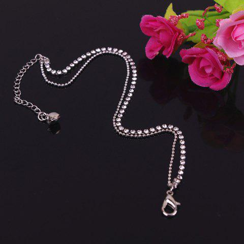 Chic Rhinestone Embellished Multi-Layered Anklet For Women - SILVER