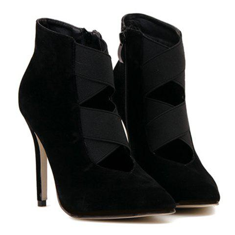 Sexy Hollow Out and Black Design Short Boots For Women - BLACK 37
