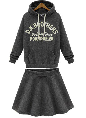 Casual Style Letter Print Pocket Hoodie and Solid Color Flouncing Skirt Women's Suit - DEEP GRAY XL