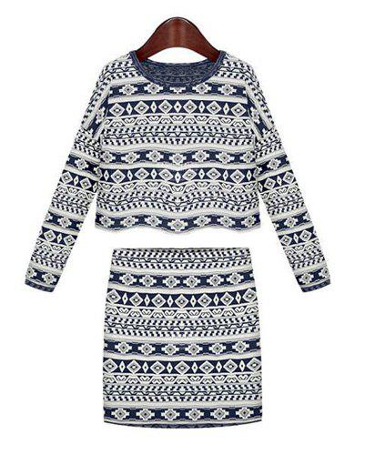 Ethnic Pattern Long Sleeve T-Shirt and Packet Buttock Skirt Stylish Women's Suit - BLUE/WHITE S