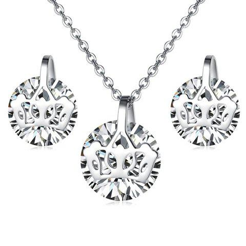 A Suit of Sweet Women's Rhinestone Openwork Crown Decorated Necklace And Earrings