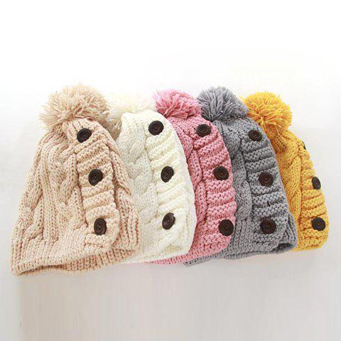 Hot Sale Fuzzy Ball Buttons Knitted Hat For Women - COLOR ASSORTED ONE SIZE
