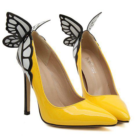 Party Butterfly and High Heel Design Pumps For Women - YELLOW 38