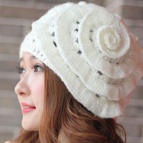 Hot Sale Flower Design Solid Color Openwork Knitted Hat For Women - WHITE ONE SIZE