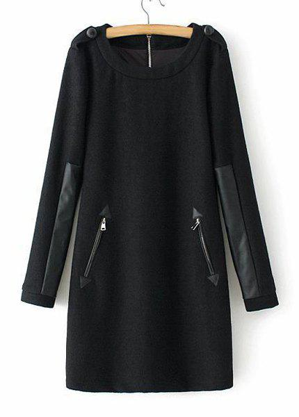 Graceful Black Round Collar PU Leather Splicing Worsted Long Sleeve Dress For Women - BLACK M