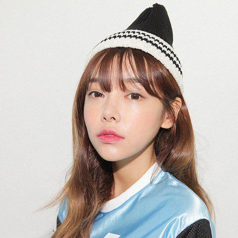 Characteristic Stripe Color Block Hat For Women - BLACK ONE SIZE