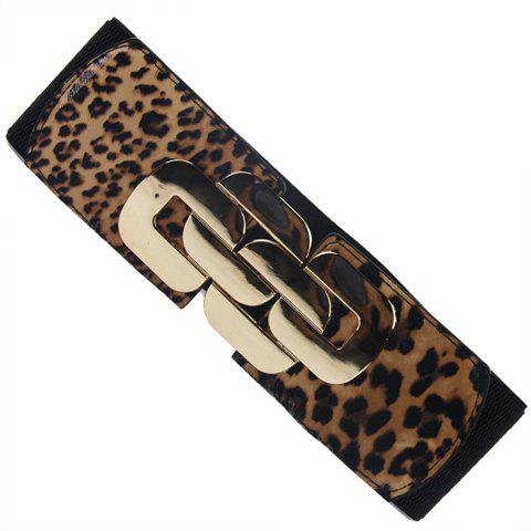 Stylish Special Design Metal Belt Buckle Wide Elastic Belt For Women - LEOPARD