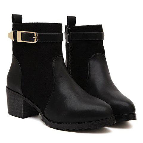 Fashionable Splicing and Buckle Design Short Boots For Women - BLACK 38