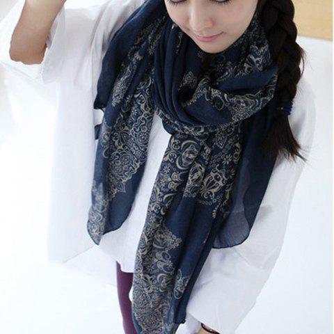 Cute Floral Print Silk Scarf For Women - PURPLISH BLUE