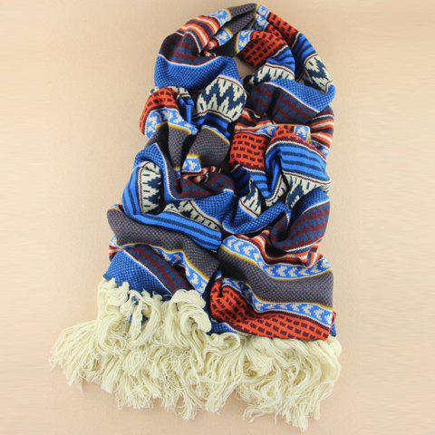 Stylish Tassels Design Color Splicing Knitted Scarf For Women - BLUE