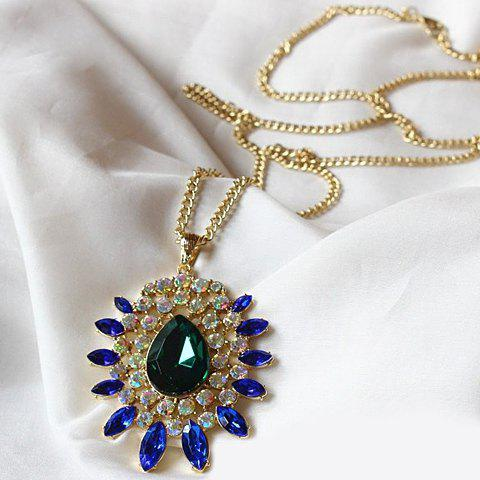 Gorgeous Women's Gemstone Embellished Sweater Chain Necklace - COLORMIX