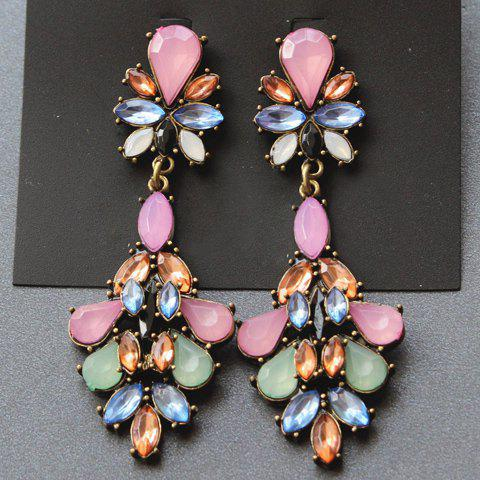 Pair of Gorgeous Women's Gemstone Embellished Earrings Drop -  COLORFUL