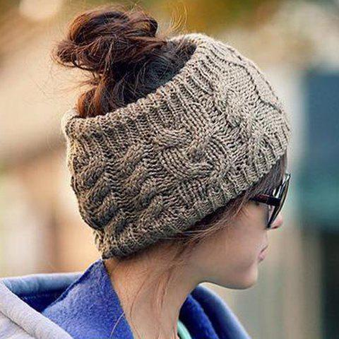 Chic Knitted Hemp Flowers Headband Shape Hat for Women - COLOR ASSORTED ONE SIZE