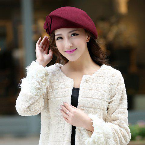Vintage Two Flowers Design Beret Hat For Women - DARK RED ONE SIZE