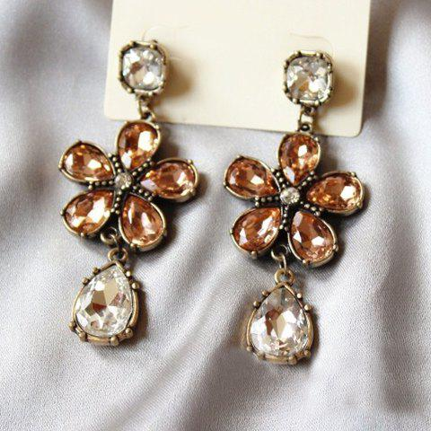 Pair of Delicate Gemstone Embellished Flower Shape Earrings For Women - COLORMIX