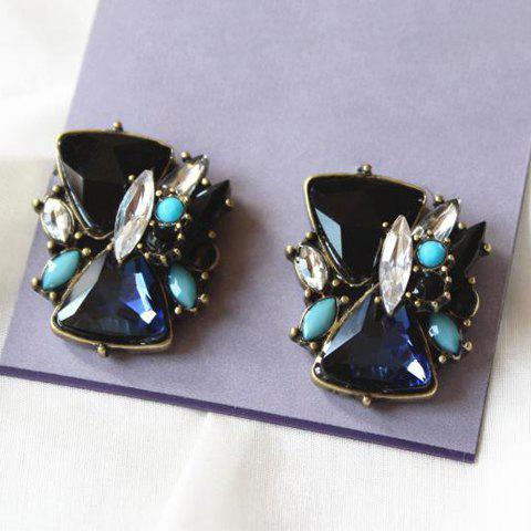 Pair of Delicate Women's Colorful Gemstone Embellished Earrings - AS THE PICTURE