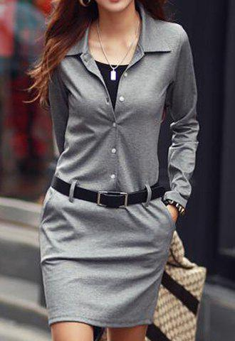 Buy Casual Turn-Down Colllar Solid Color Long Sleeve Dress Women GRAY