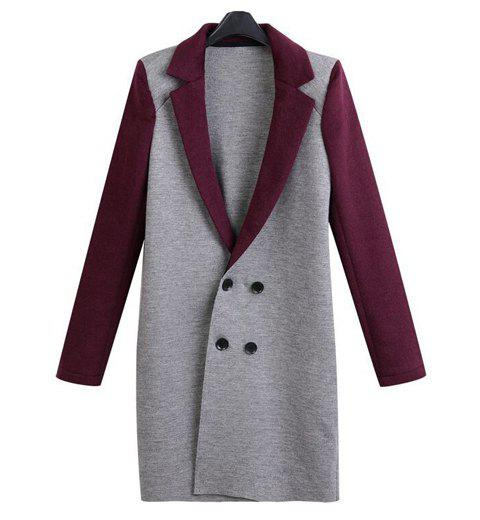Color Block Long Sleeve Lapel Neck Double-Breasted Stylish Women's Coat - GRAY/RED L
