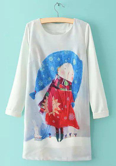 Cute Girl and Rabbit Print Round Collar Loose Long Sleeve Dress For Women - BLUE L