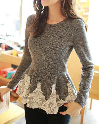 Stylish Jewel Neck Lacework Splicing Long Sleeve T-Shirt For Women - DEEP GRAY ONE SIZE