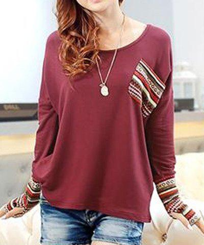 Casual Women's Scoop Neck Long Sleeves Striped Splicing T-Shirt - RED ONE SIZE