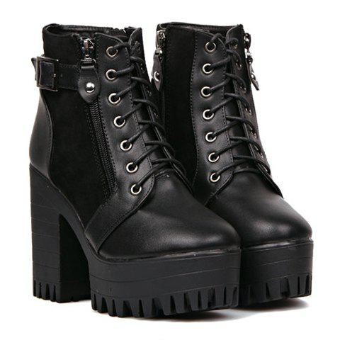 Stylish Black and Platform Design Women's Boots - BLACK 38